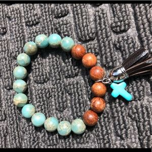 Jewelry - Turquoise/ leather/ wood cross bracelet